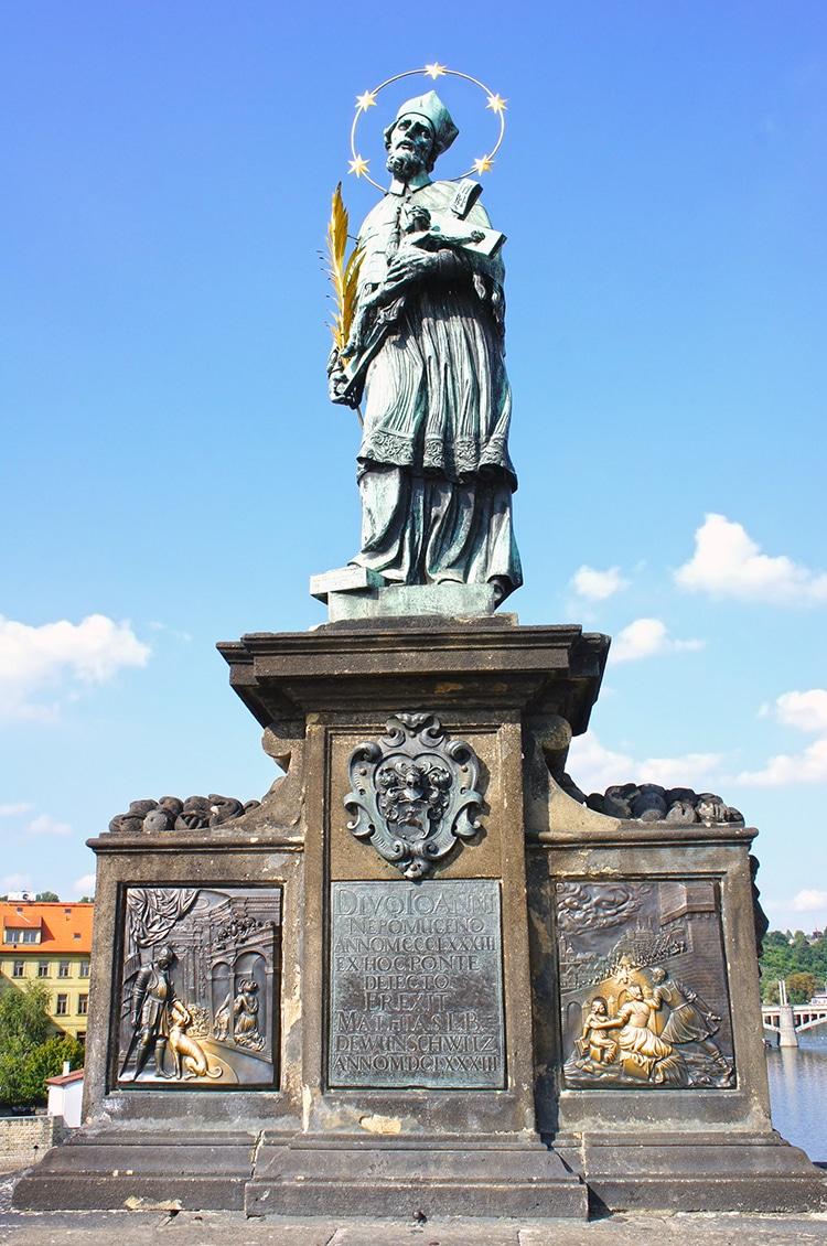 St. John of Nepomuk on Charles Bridge in Prague, Czech Republic