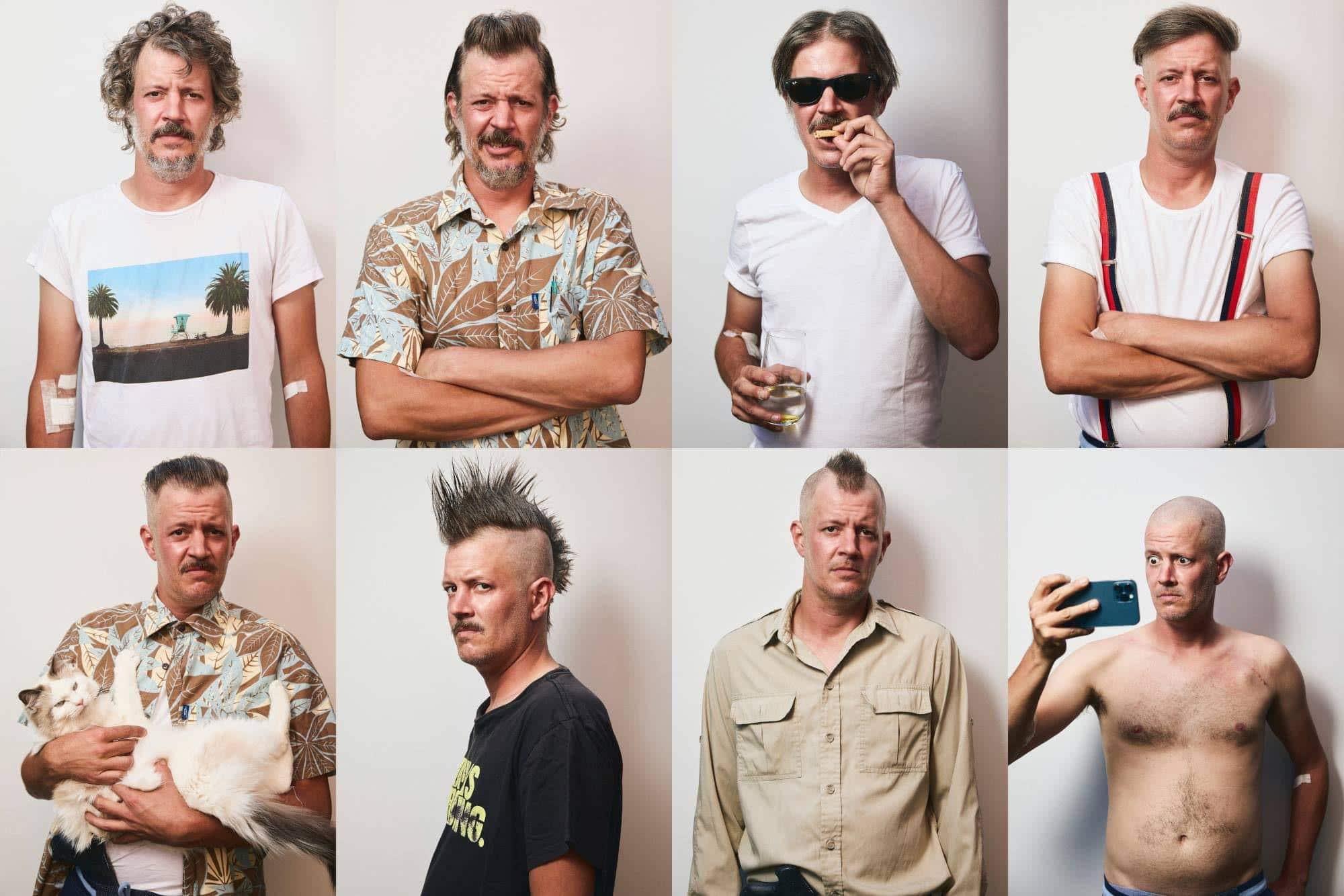 Hombre con diferentes peinados antes de perder su cabello por el cáncer