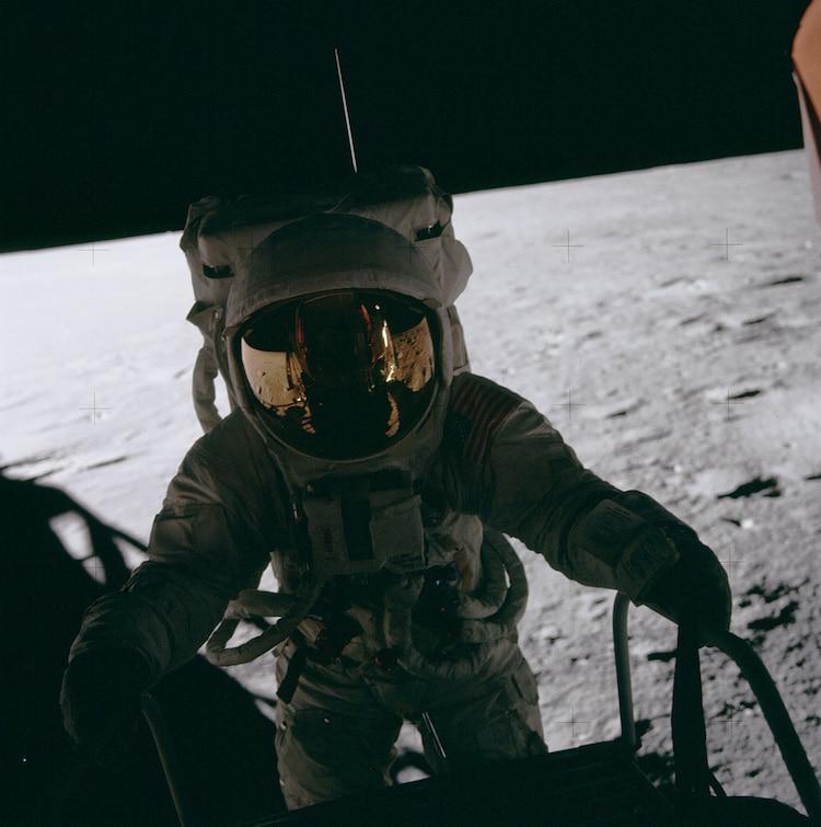 Apollo 12 Astronaut Climbing Ladder to the Moon