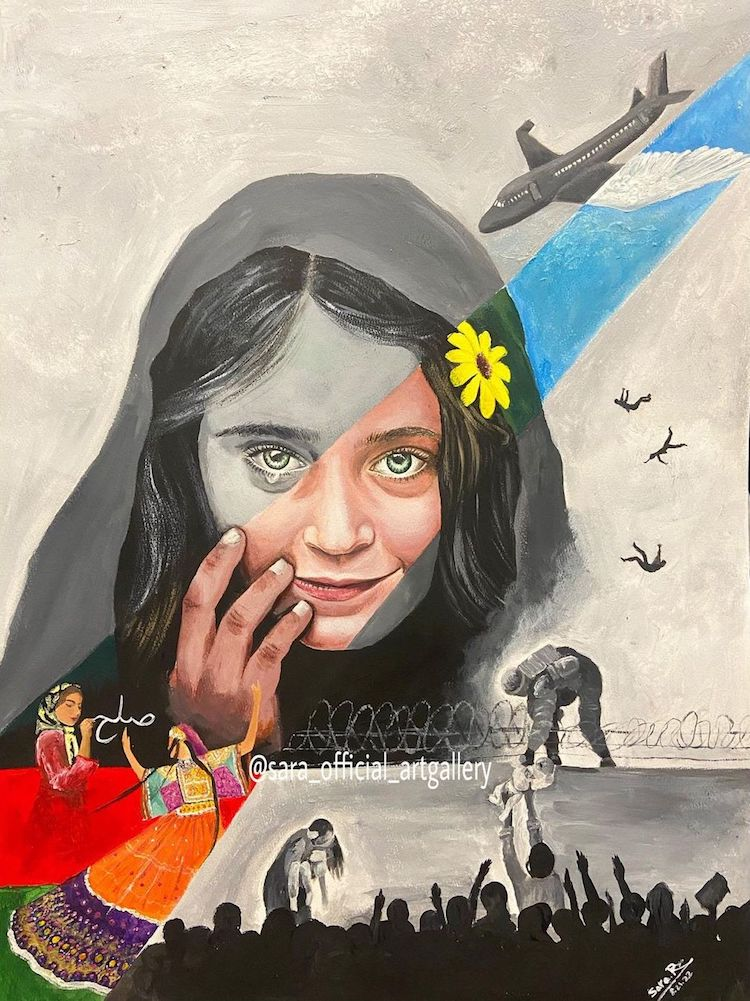Emotional Painting of Afghan Girl by Sara Rahmani