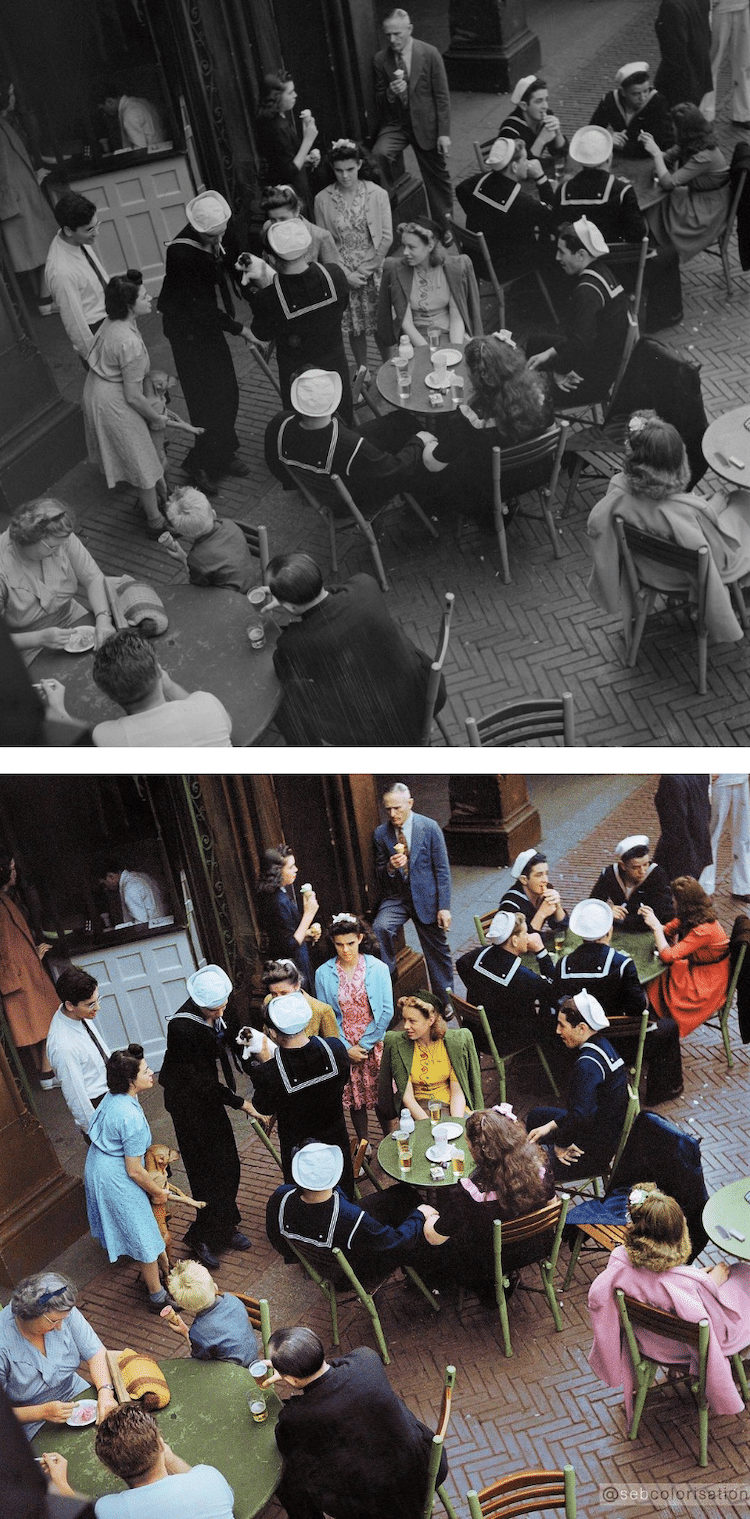 fotografías antiguas en blanco y negro a color por Sébastien de Oliveira