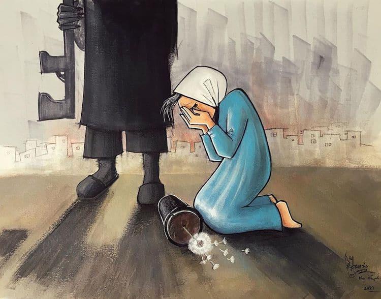 Art by Female Afghani Street Artist Shamsia Hassani