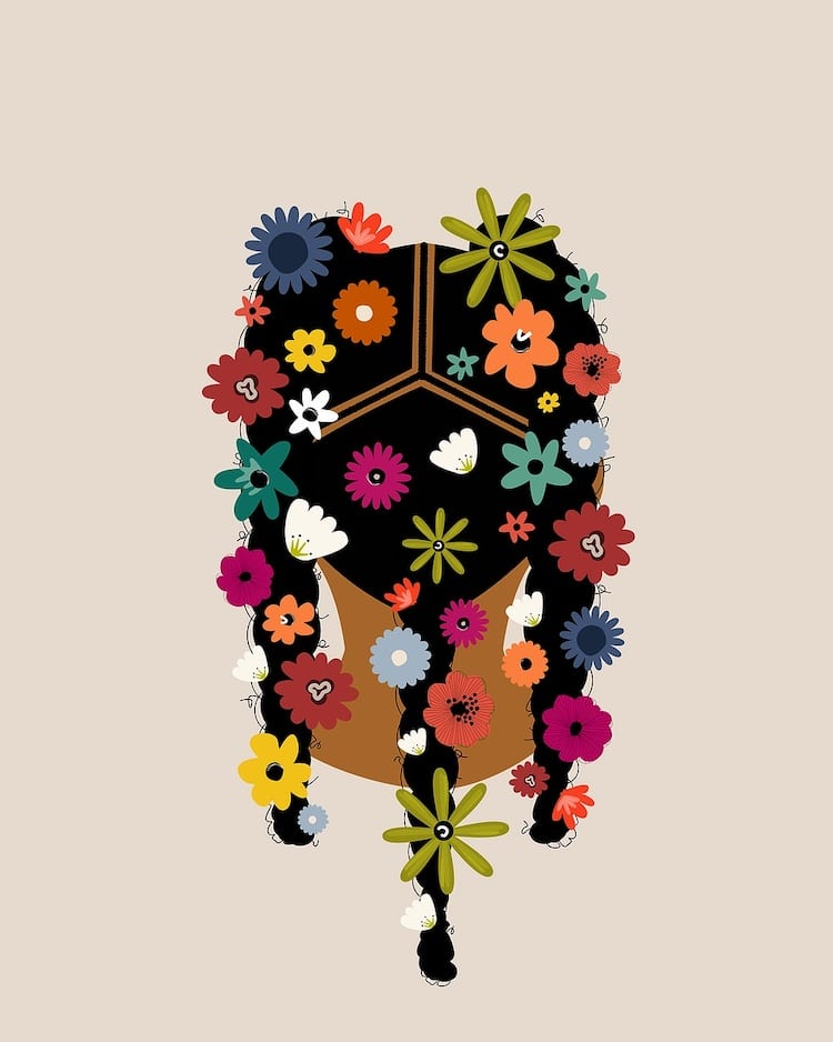 Black Girl Floral Art Prints in Full Bloom