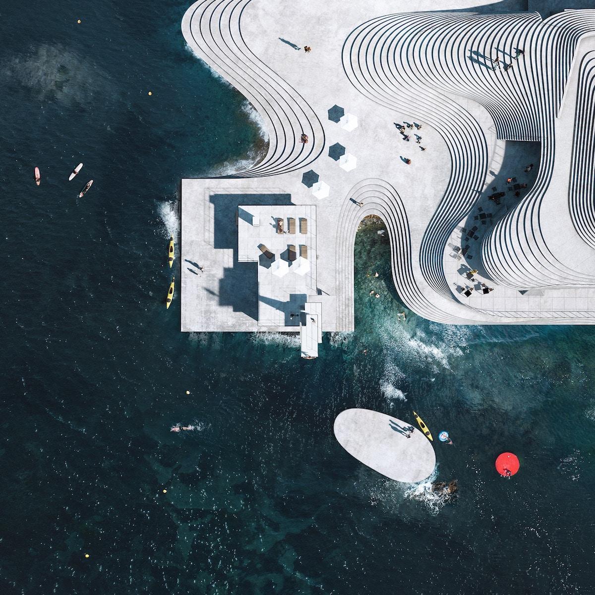 Aerial View of Knubben Harbor Bath Redesign by Snøhetta