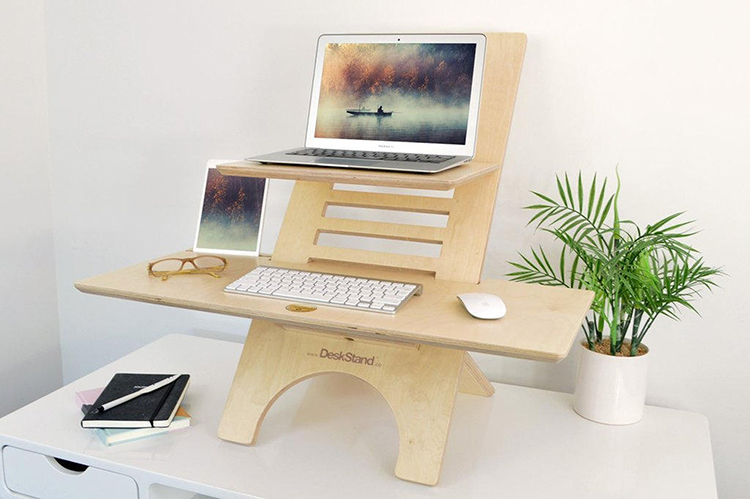Standing Desk in Natural Wood