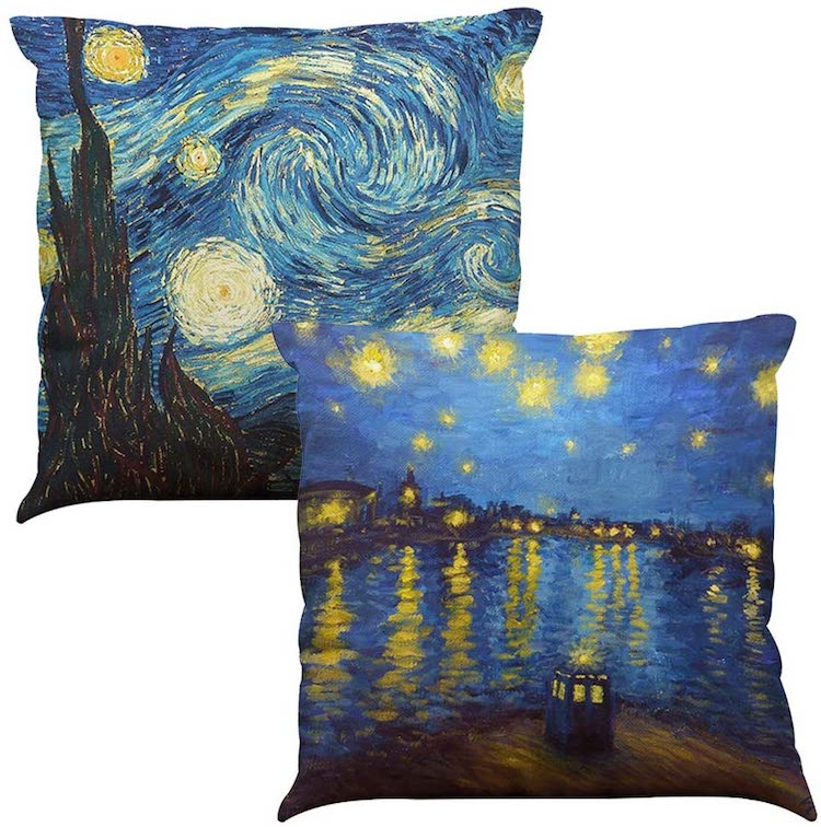 Vincent Van Gogh Starry Night Set of Two Throw Pillows (Multiple Styles)