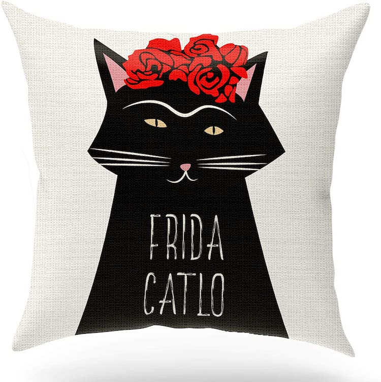 Frida Kahlo Cat Throw Pillow (Multiple Styles)
