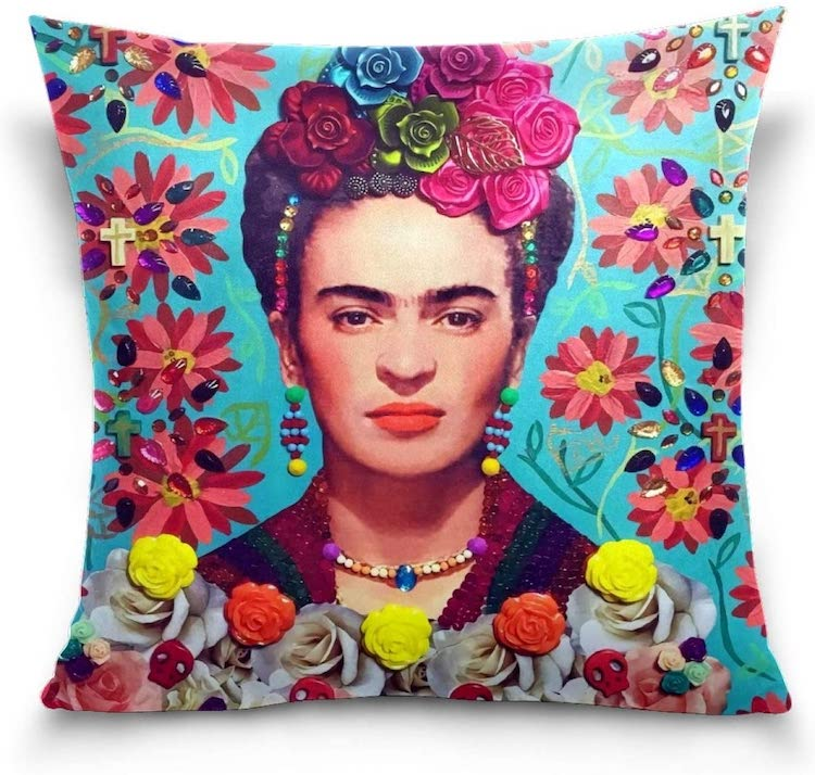 Frida Kahlo Flower Portrait Throw Pillow Case (Multiple Styles)
