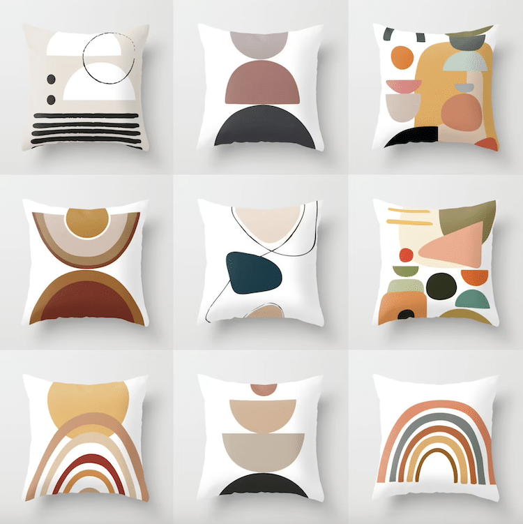 Geometric Mid Century Throw Pillow (Multiple Styles)