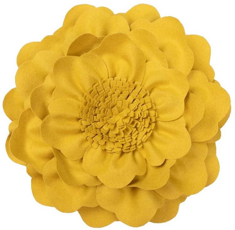 3D Flower Throw Pillow (Multiple Colors)