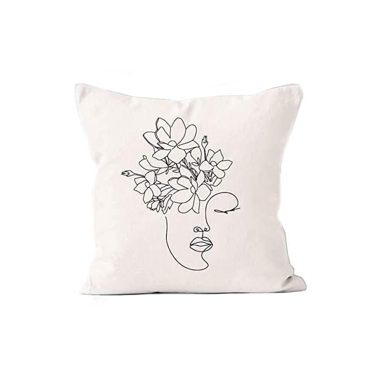 Woman Abstract Boho Throw Pillow