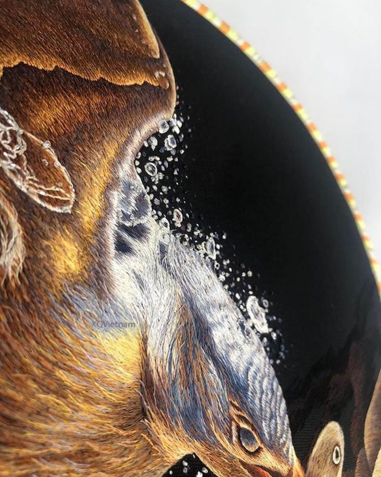 Detail of a Kingfisher Bird Embroidery