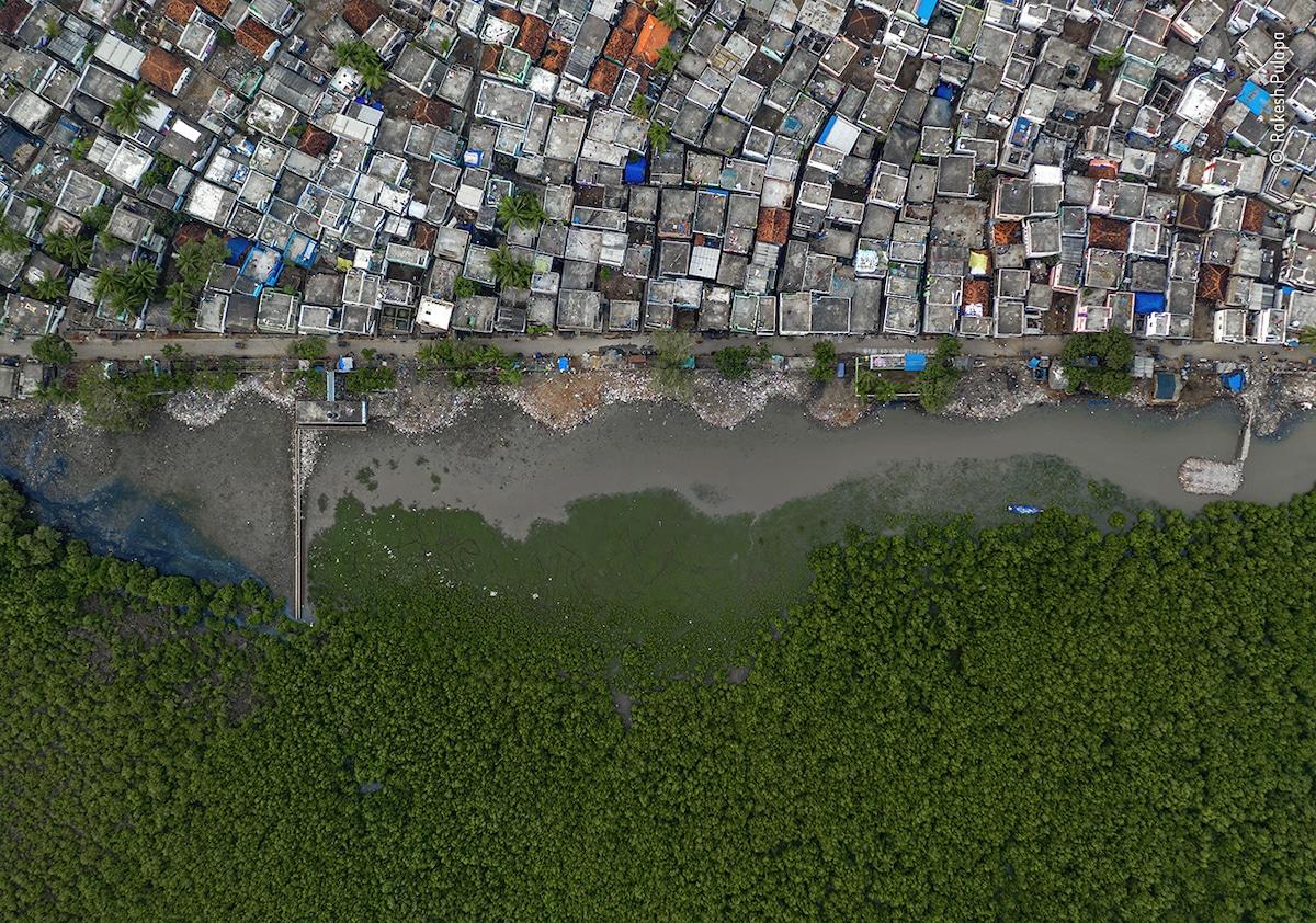 Photo aérienne de la maison à la périphérie de la ville de Kakinada en Inde