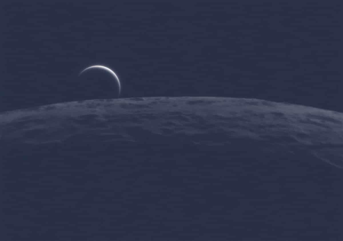 Venus en el horizonte de la Luna