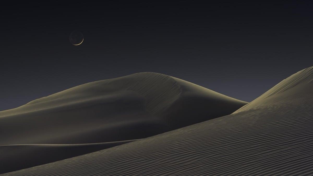 Luna creciente sobre el Valle de la Muerte