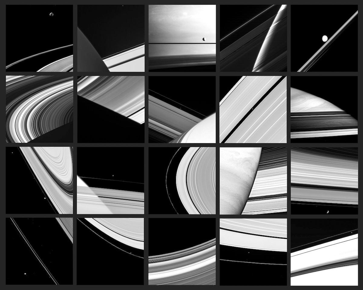 Mosaico de fotos de la misión Cassini