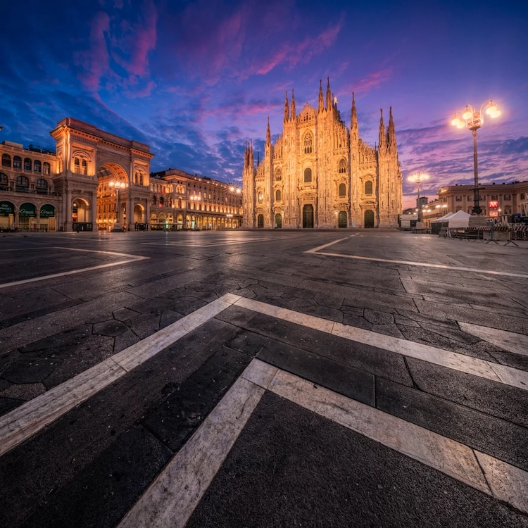 Nighttime in Main Square of Milan, Italy