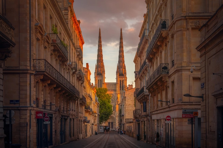 Sunset on the Streets of Bordeaux, France