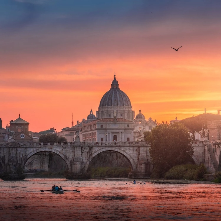 View of St. Peter's Basilica at Sunset