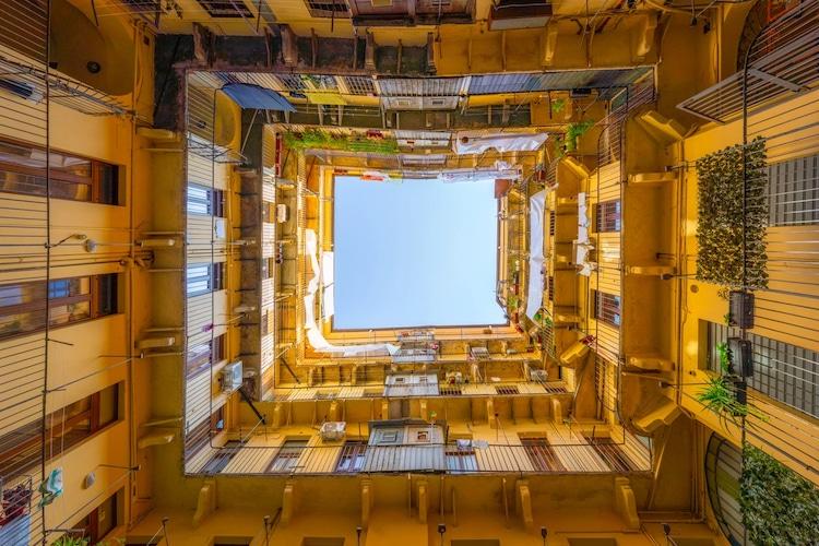Upward Look at Courtyard in Turin, Italy