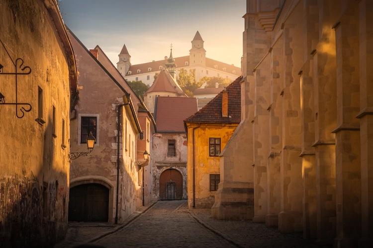 Old Town in Street Car in Bratislava, Slovakia