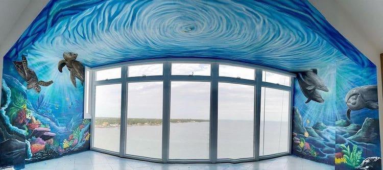 Panoramic Image of an Ocean Mural Painting