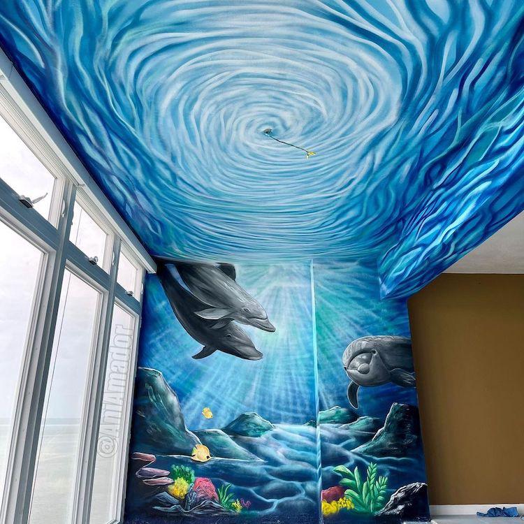Immersive Mural Art of Ocean Scene