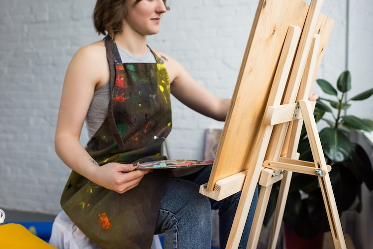 Artist Working on an Easel