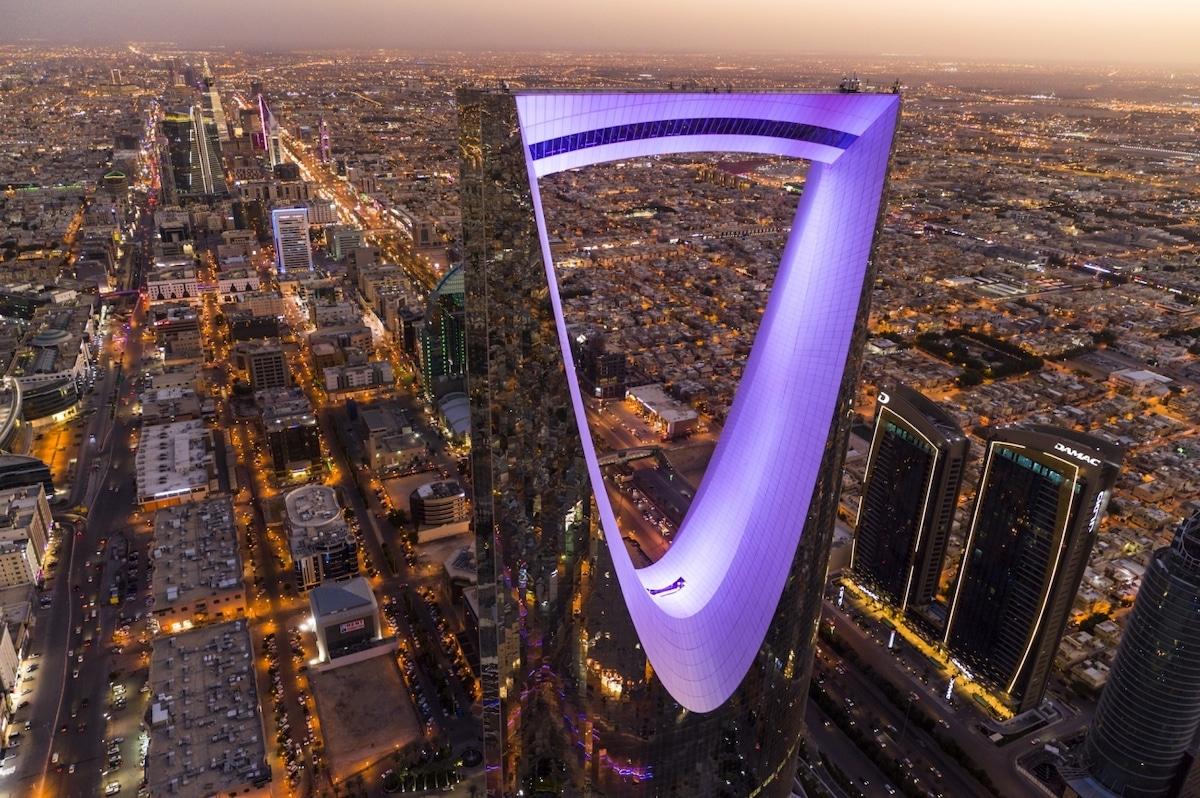 Photo aérienne du Kingdom Center en Arabie Saoudite