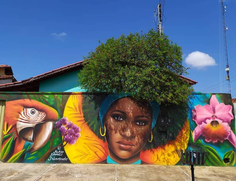 Street Art Portrait With Plants as Hair