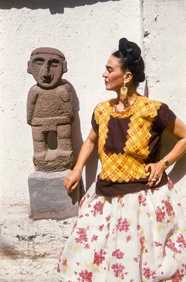 Frida Kahlo with Sculpture