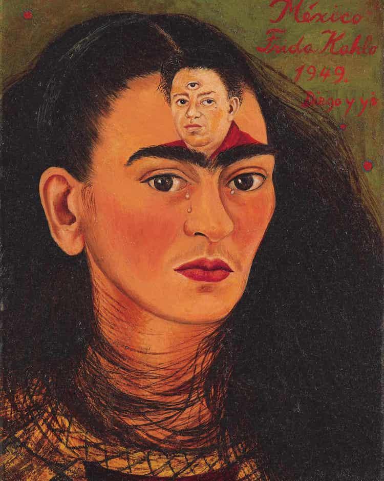 Frida Kahlo Painting Diego y yo