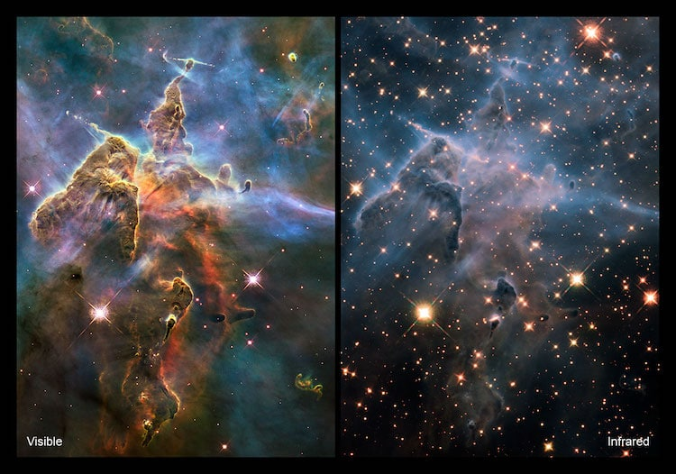 Deux images d'un pilier de naissance d'étoile prises en lumière visible et infrarouge par le télescope spatial Hubble de la NASA/ESA, révélant des vues radicalement différentes et complémentaires de l'objet.