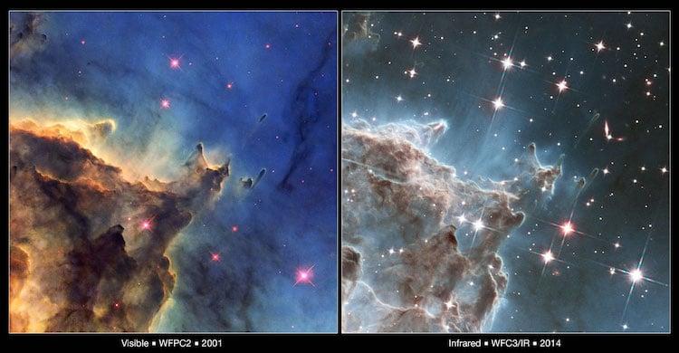 Deux vues de la même zone détaillée dans la nébuleuse NGC 2174, à partir du télescope spatial Hubble.