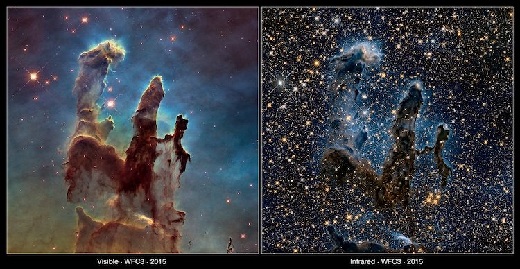 Deux vues des piliers de la création de la nébuleuse de l'aigle, capturées par le télescope spatial Hubble en lumière visible et infrarouge.