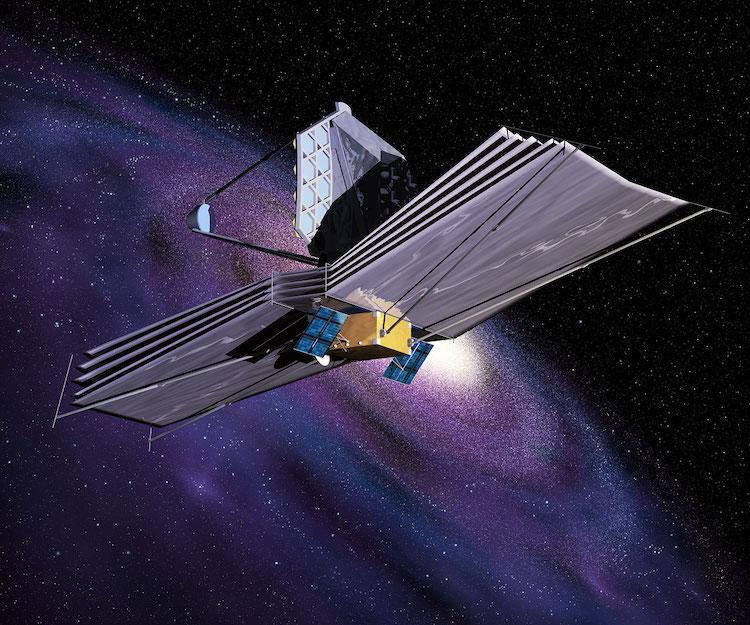 Une représentation artistique du télescope spatial James Webb, successeur du télescope spatial Hubble, après son lancement.
