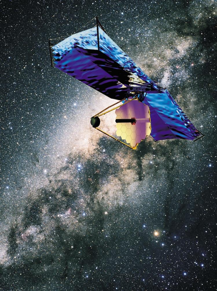 Une impression d'artiste du télescope spatial James Webb qui transite devant la Voie lactée.