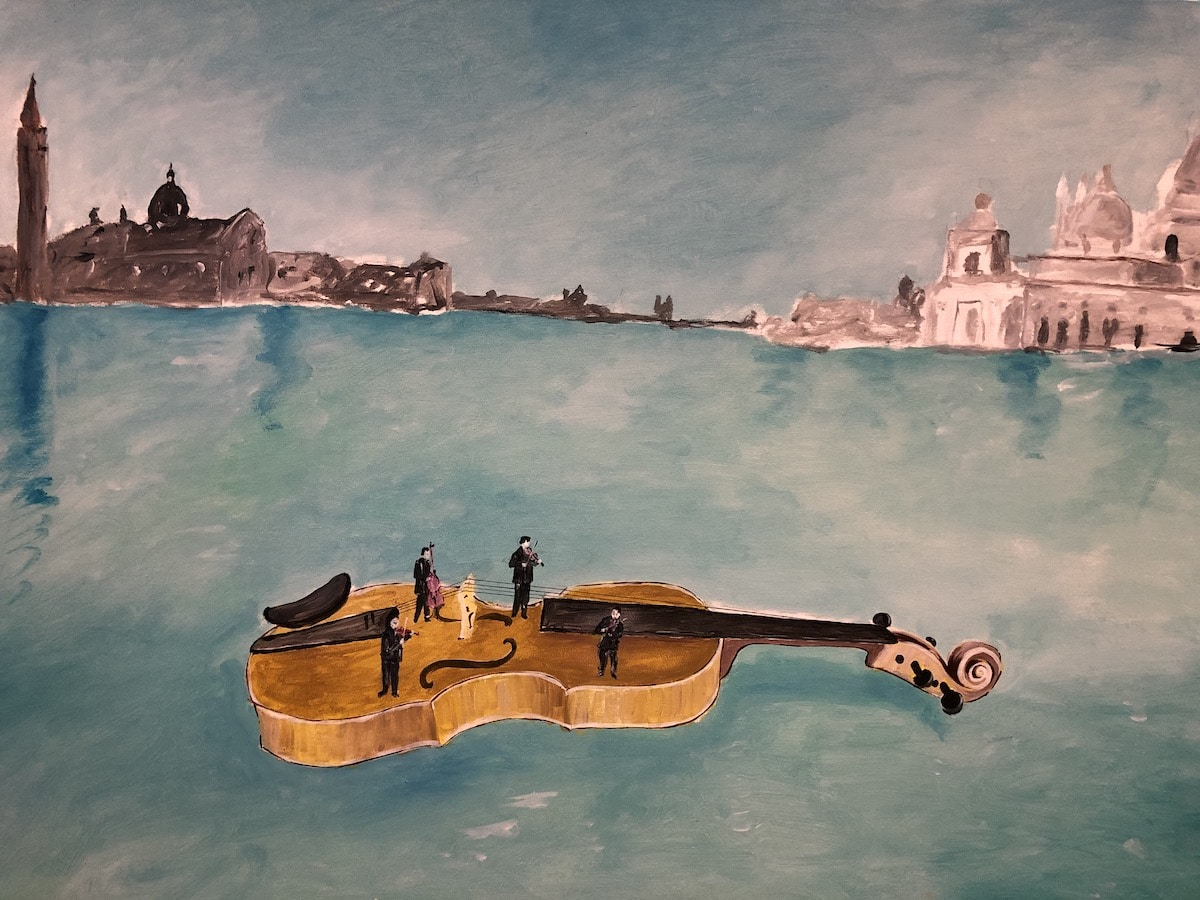 Painting of Floating Violin by Livio de Marchi