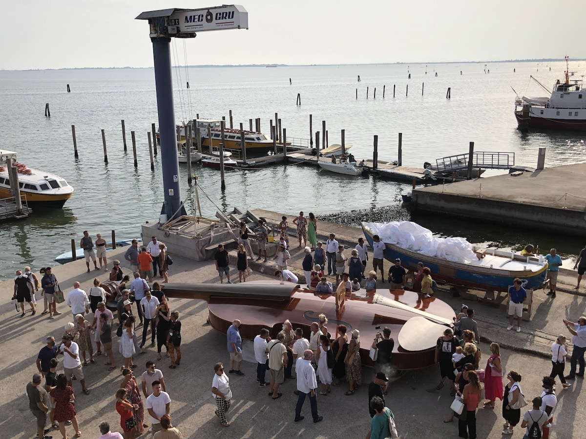 Giant Violin Sculpture by Livio de Marchi in Venice