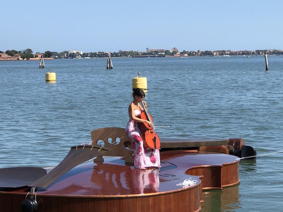 Livio de Marchi Floating Violin in Venice