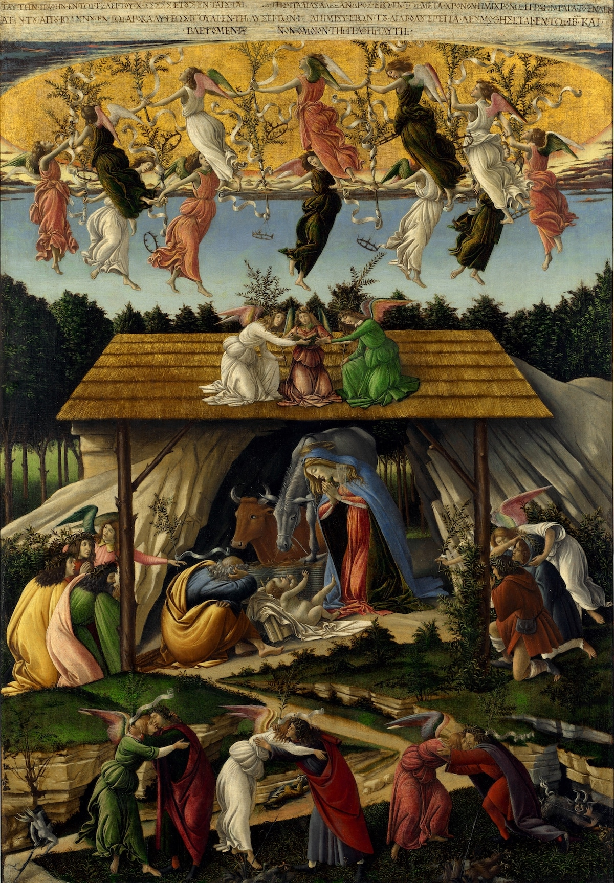 Mystical Nativity Painting by Sandro Botticelli
