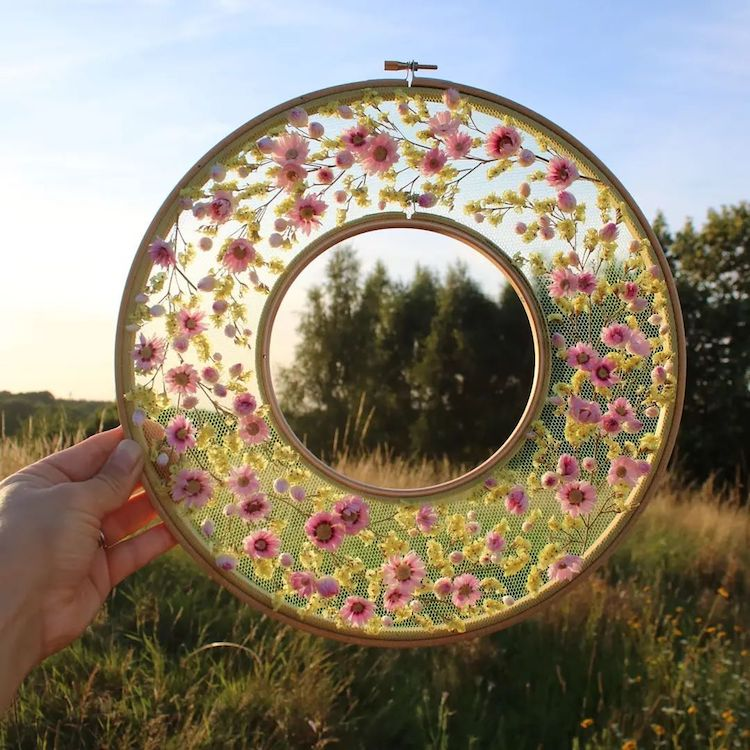 Flower on Tulle Embroidery by Olga Prinku