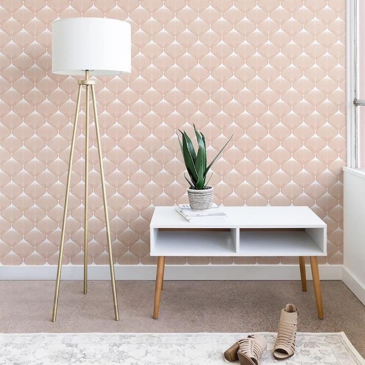 Pale Pink Geometric Peel and Stick Wallpaper