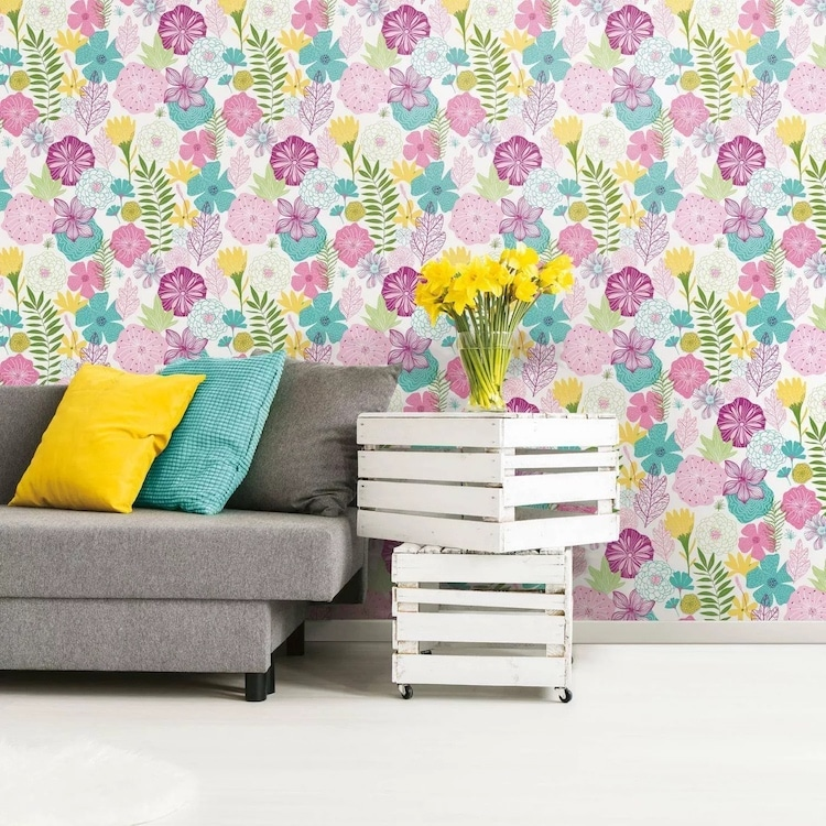 Bright Floral Peel and Stick Wallpaper from Target