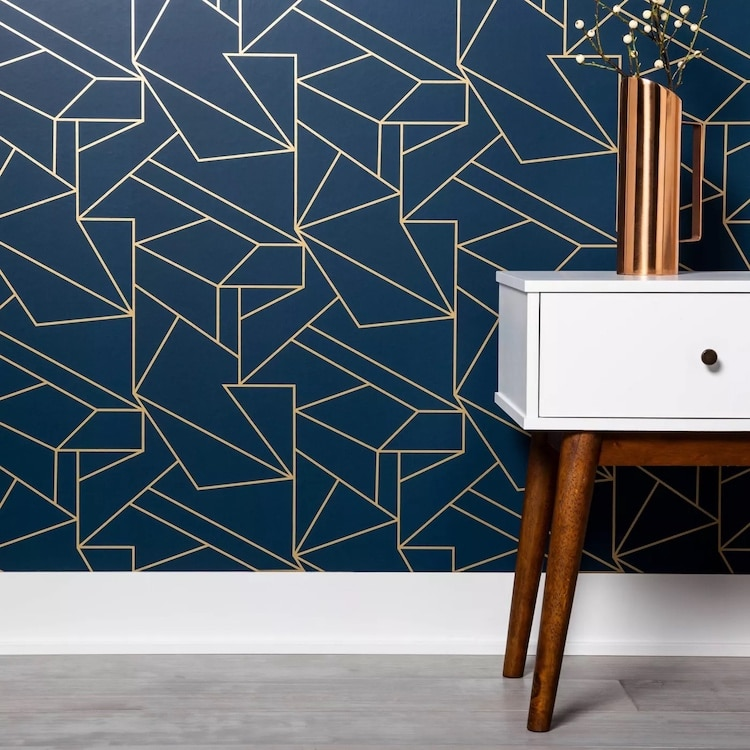 Geometric Navy and Gold Peel and Stick Wallpaper