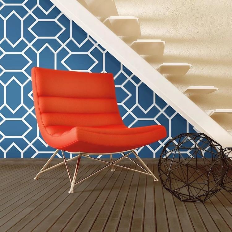 Blue Modern Geometric Peel and Stick Wallpaper