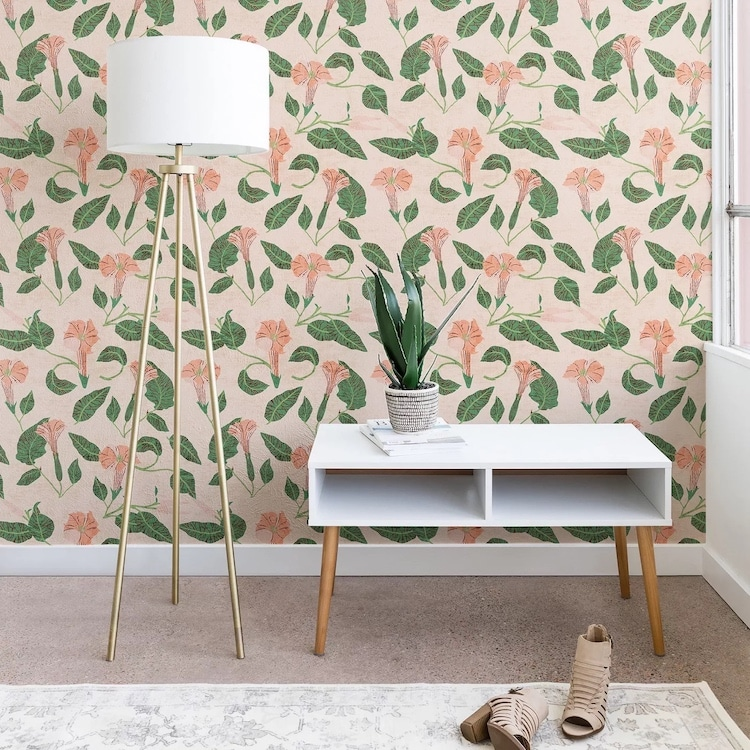 Pale Pink Floral Self-Adhesive Wallpaper