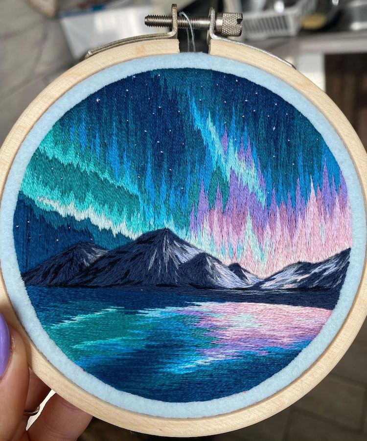 Landscape Embroidery Art of the Northern LIghts