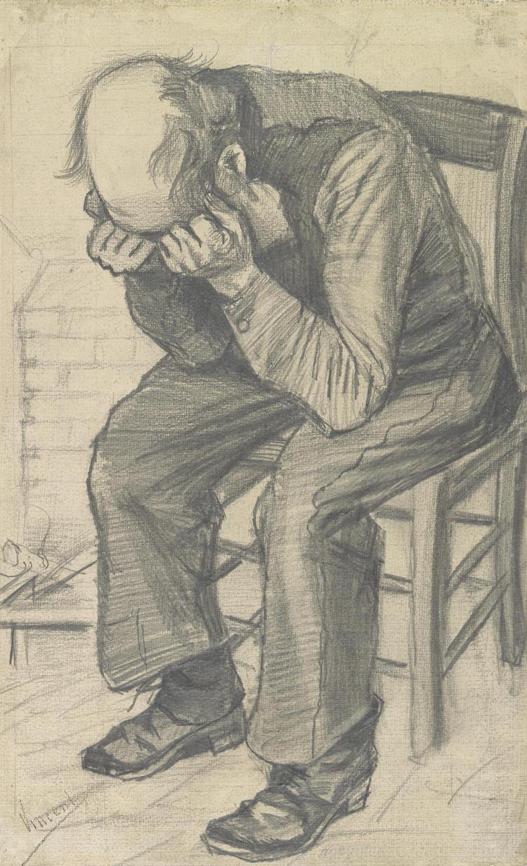 Worn drawing by Vincent van Gogh