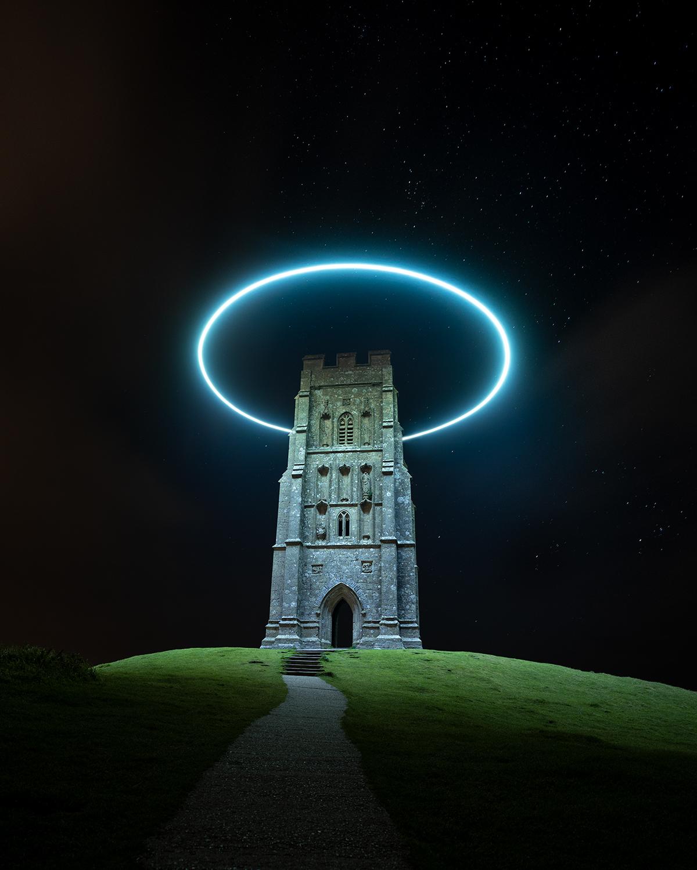 LED Light Halo Around Glastonbury Tor by Will Ferguson